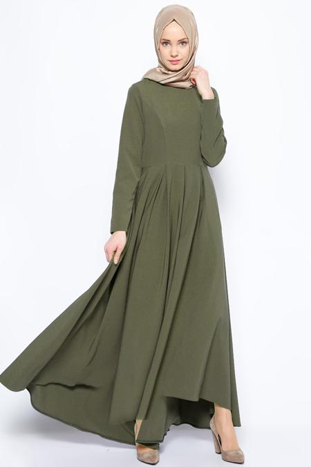 İroni Haki Pileli Elbise