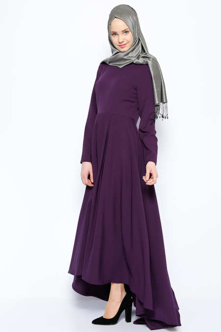 İroni Mor Pileli Elbise