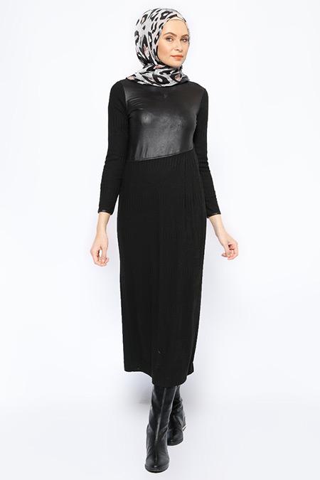 Jaade Siyah Garnili Elbise