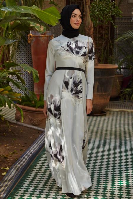 Kayra Gri Çiçek Desen Elbise