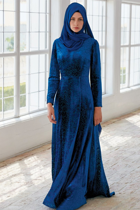 Kayra Petrol Desenli Kadife Elbise