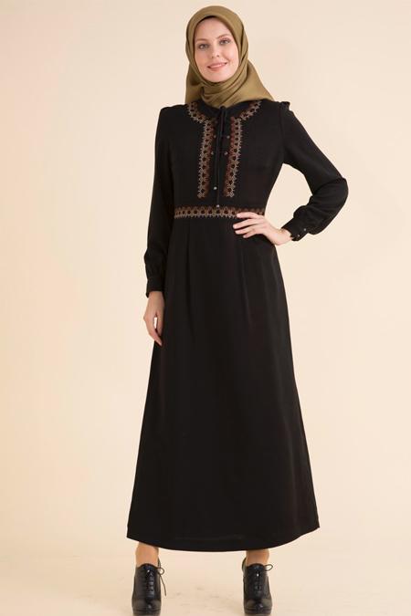 Kayra Siyah Etnik Desenli Bağcıklı Elbise