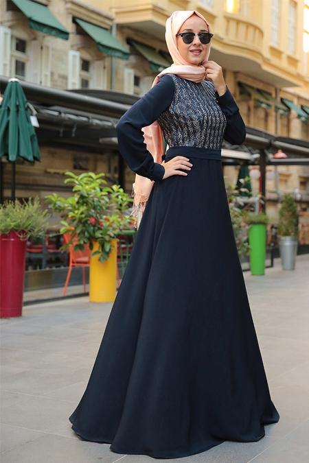 MİSS ZERA Lacivert Deri Detaylı Elbise