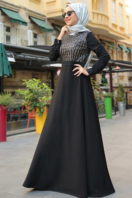 MİSS ZERA Siyah Deri Detaylı Elbise