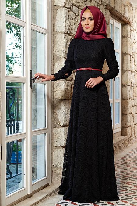 Mevra Siyah Selina Dantel Elbise