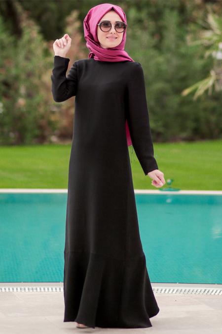 Minel Aşk Siyah Volanlı Elbise