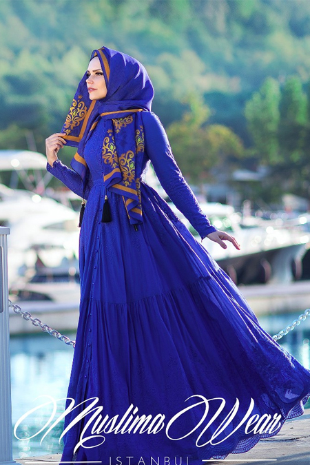 Muslima Wear Nakışlı Royal Mavi Elbise