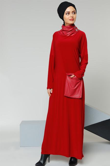 Refka Bordo Cep Detaylı Elbise