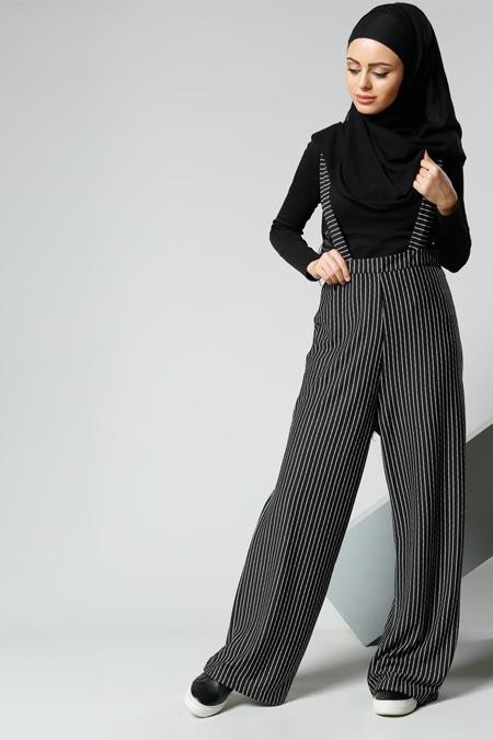 Refka Siyah Askılı Bol Paça Pantolon