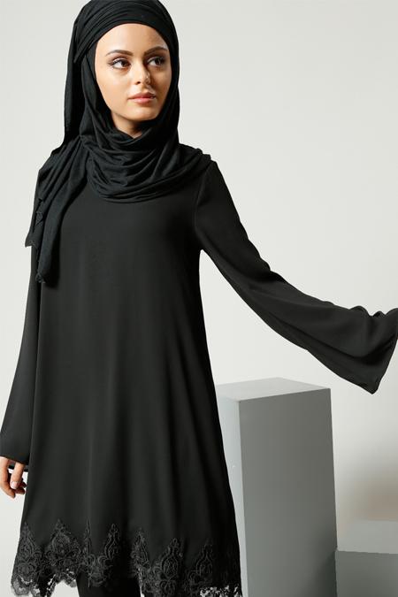 Refka Siyah Güpür Detaylı Tunik