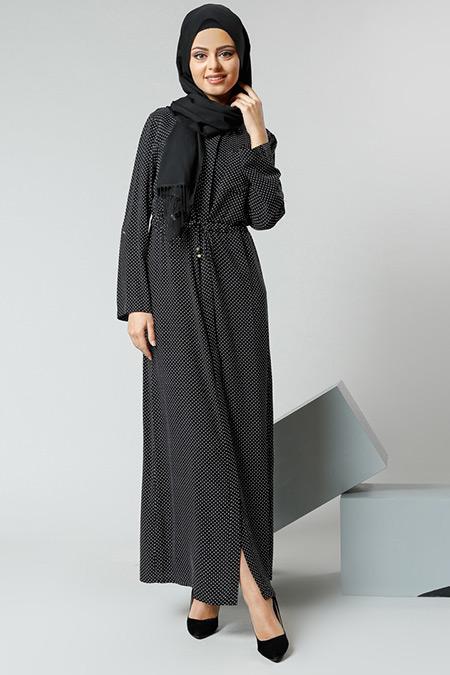 Refka Siyah Puantiyeli Naturel Kumaşlı Gizli Düğmeli Tunik