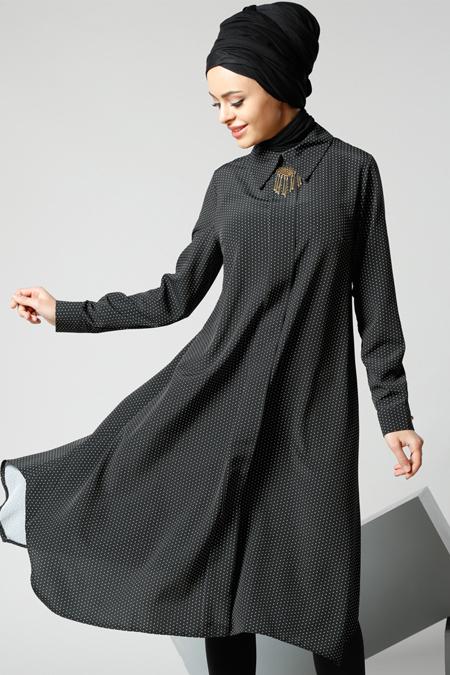 Refka Siyah Puantiyeli Tunik