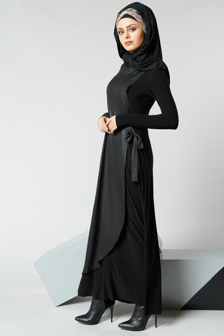 Refka Siyah Yandan Bağlamalı Elbise