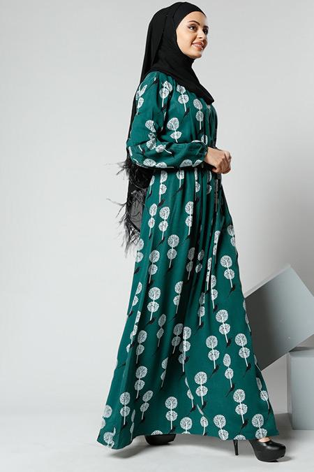 Refka Women Yeşil Naturel Kumaşlı Desenli Elbise