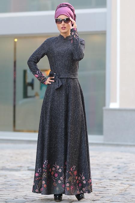 Selma Sarı Design Antrasit Eteği Çiçekli Elbise
