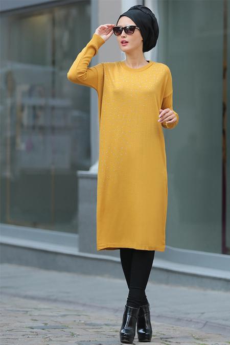 Selma Sarı Design Hardal Taş İşlemeli Triko Tunik