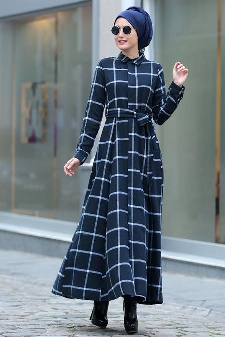 Selma Sarı Design Lacivert Esila Elbise