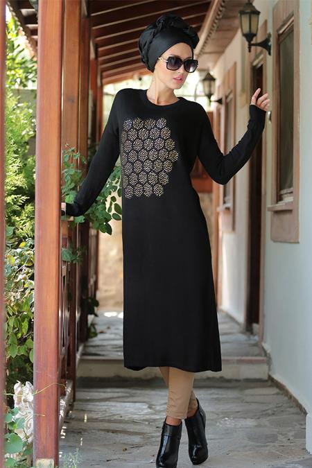 Selma Sarı Design Siyah Petek Triko Tunik