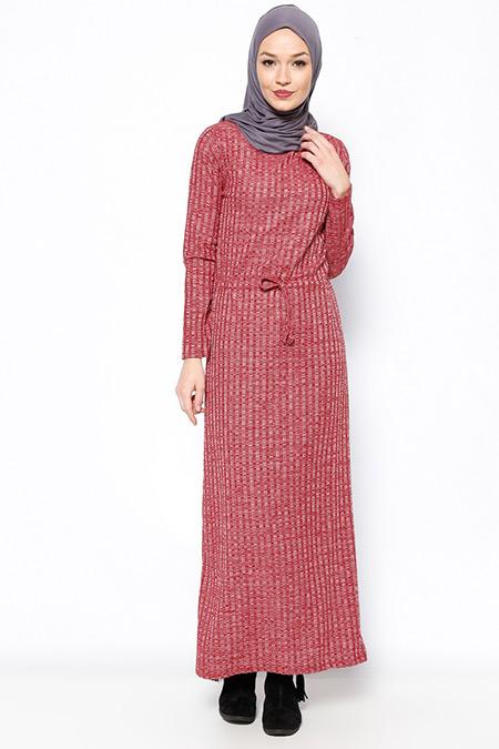Tuncay Bordo Beli Bağcıklı Elbise