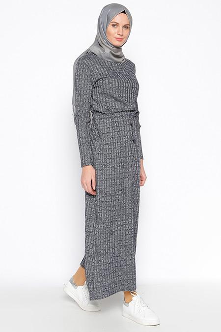 Tuncay Lacivert Beli Bağcıklı Elbise