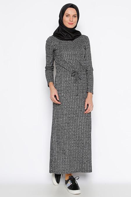 Tuncay Siyah Beli Bağcıklı Elbise