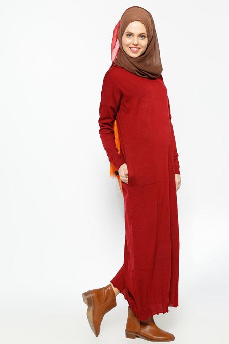 Zentoni Bordo Triko Elbise