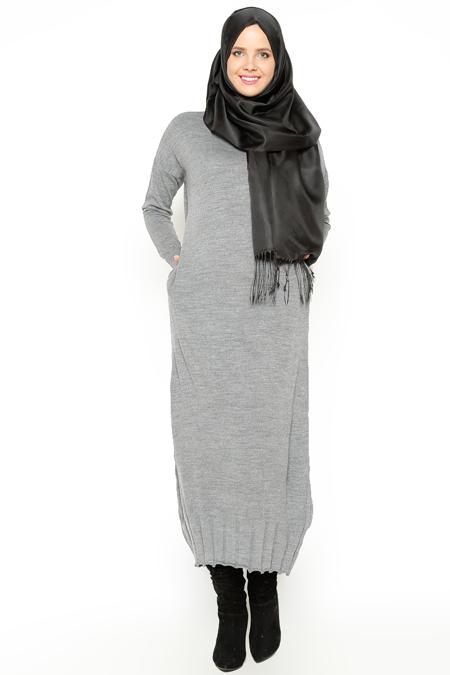 Zentoni Koyu Gri Triko Elbise