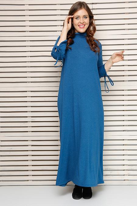 Alia İndigo Kolları Bağcıklı Elbise