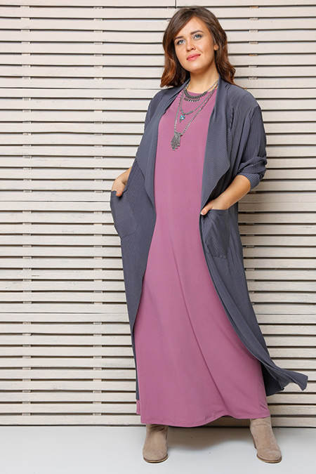 Alia Antrasit Gül Kolsuz Elbise & Hırka İkili Takım