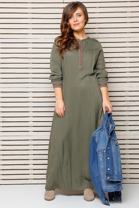 Alia Haki Düğme Detaylı Elbise