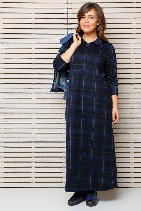 Alia Lacivert Ekoseli Elbise