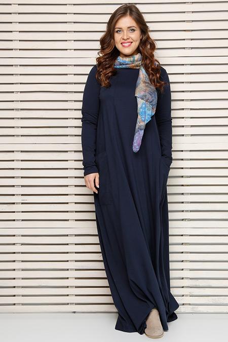 Alia Lacivert Naturel Kumaşlı Elbise