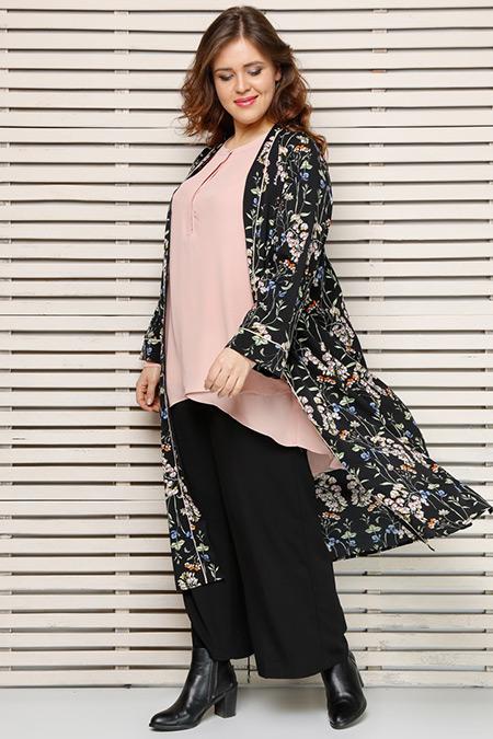 Alia Siyah Çiçek Desenli Kimono