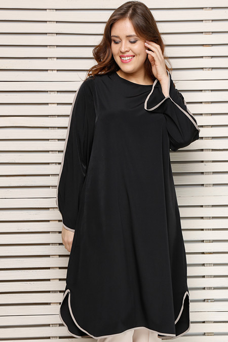 Alia Siyah Bej Biye Detaylı Tunik