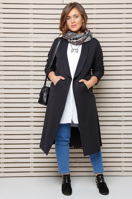 Alia Siyah Cepli Uzun Ceket