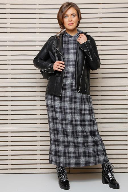 Alia Siyah Gri Ekoseli Elbise