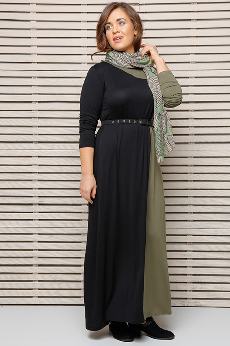 Alia Siyah Haki Garnili Elbise