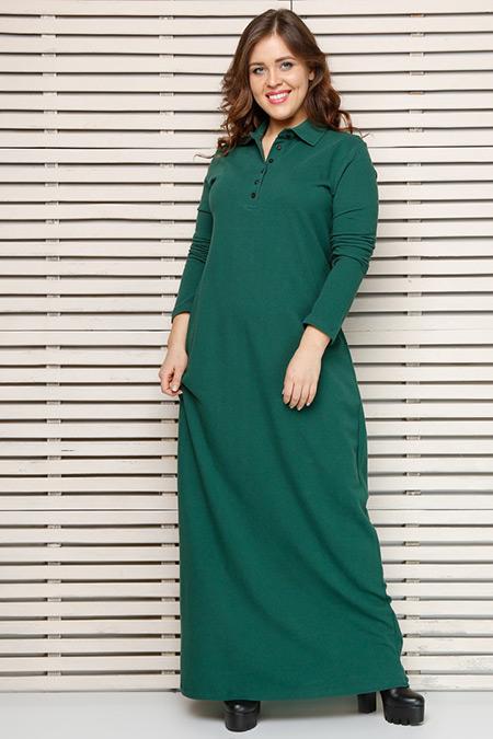 Alia Yeşil Naturel Kumaşlı Elbise