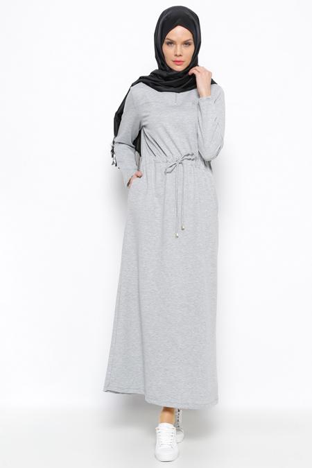 Allday Gri Drop Baskılı Elbise