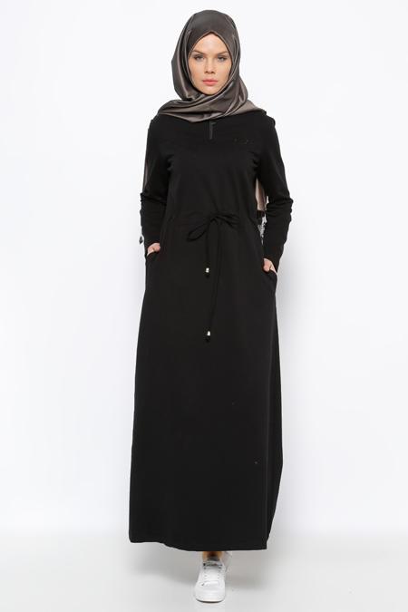 Allday Siyah Drop Baskılı Elbise