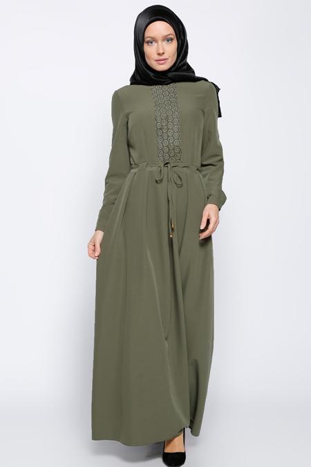 Bislife Haki Güpür Detaylı Elbise