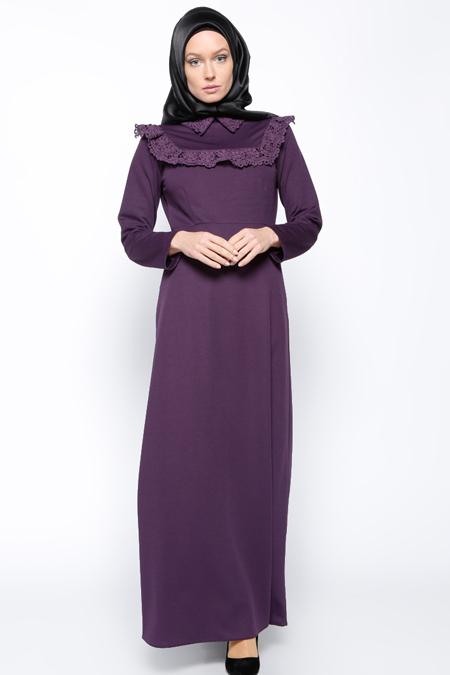 Bislife Mor Güpür Detaylı Elbise