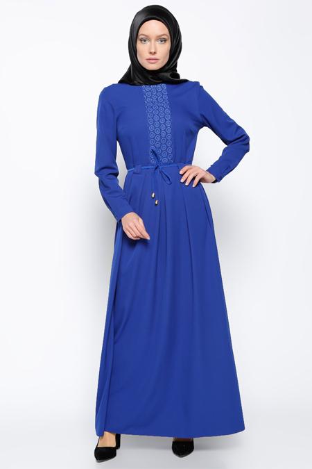 Bislife Saks Güpür Detaylı Elbise