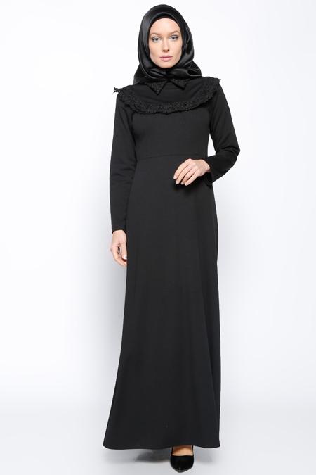 Bislife Siyah Güpür Detaylı Elbise