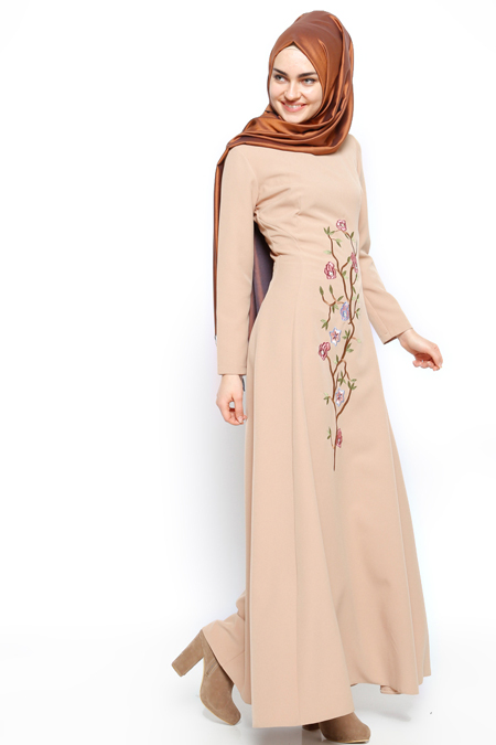 Etrucci Camel Nakışlı Elbise
