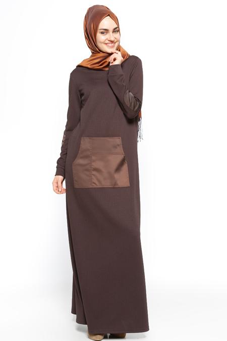 Etrucci Kahve Cep Detaylı Elbise
