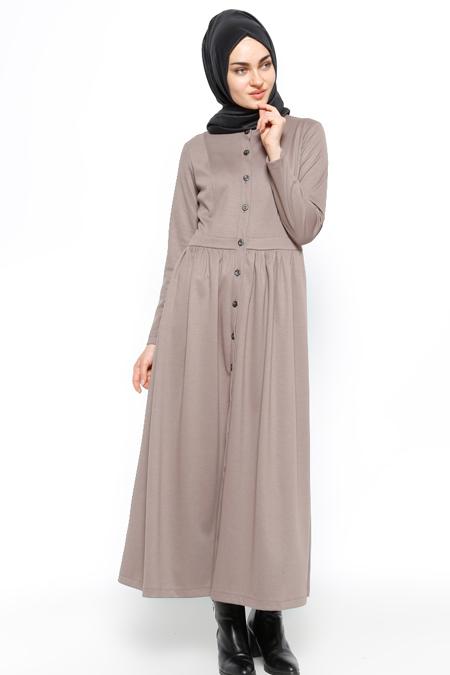 Etrucci Vizon Düğmeli Elbise