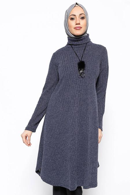 Eva Fashion Lacivert Koyeli Tunik