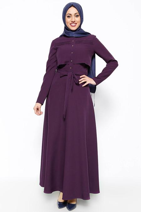 Eva Fashion Mor Düğme Detaylı Elbise