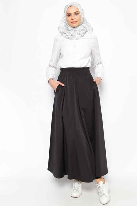 Eva Fashion Siyah Beli Lastikli Etek